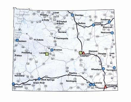 Wyoming map with locations of ARRA projects